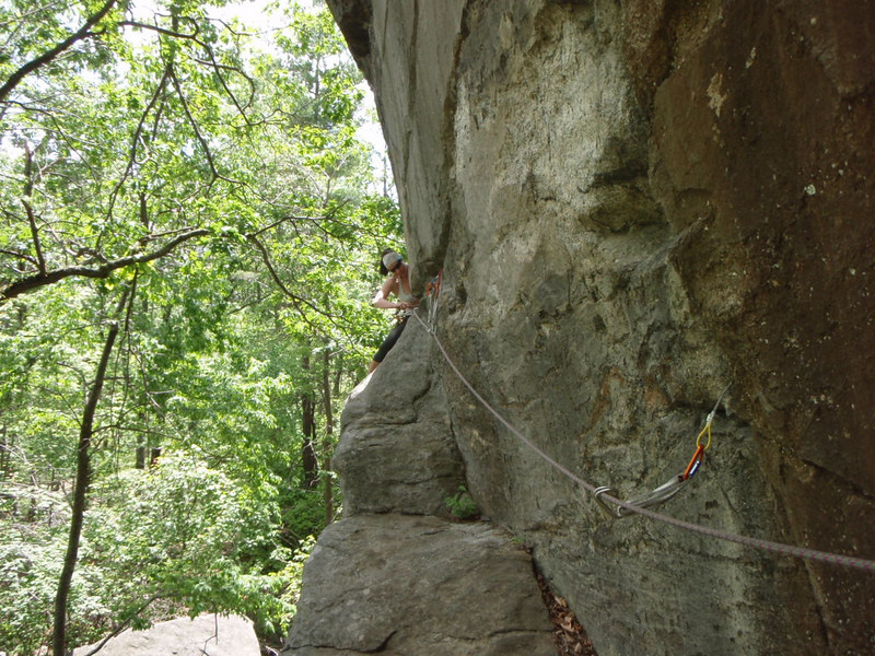 Christine seconding the first pitch of Green Route (5.5)
