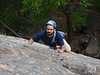 """Omar climbing the first pitch on """"Son of Easy O"""" (5.8)"""