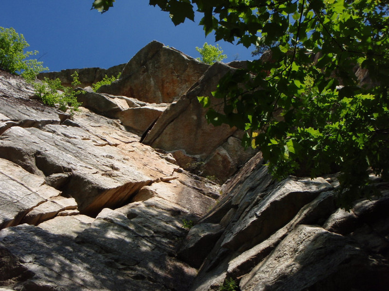 "Looking up at the first pitch of ""Te Dum"" (5.7) on the right."