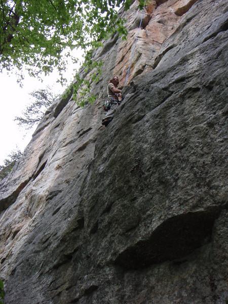 "Ben climbing ""Farewell to Arms"" (5.8) (shot taken courtesy of Willow)"