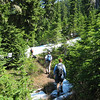 Hiking between Mt Margeret and Lk Lillian (east of Snoqualmie Pass, WA) -Lynn, (up front), Riley, Dave, Pauline