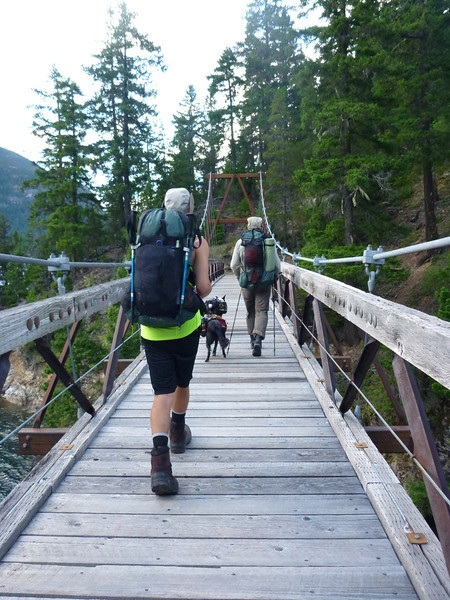 Suspension bridge.  Both dogs walked across with legs splayed out. They weren't too thrilled with it, but did not want to miss out on the hike.