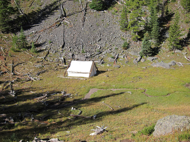 "Staging tent for ""high hunt"" at Larch Pass"