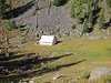 """Staging tent for """"high hunt"""" at Larch Pass"""