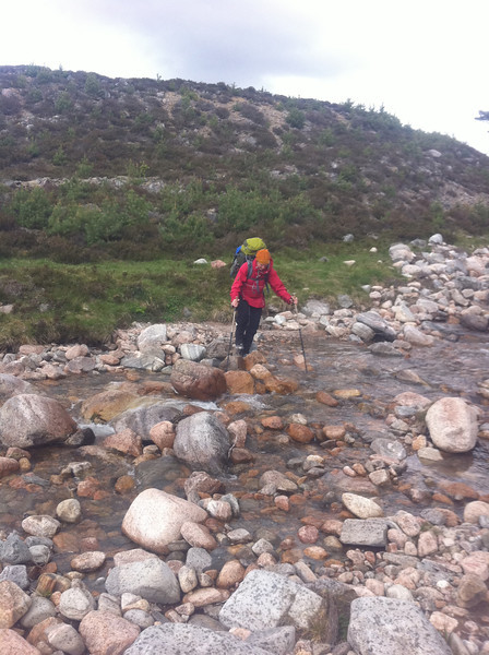 Crossing Allt Garbhlach (River Feshie)
