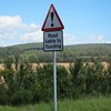 Road flood signage near Strachan