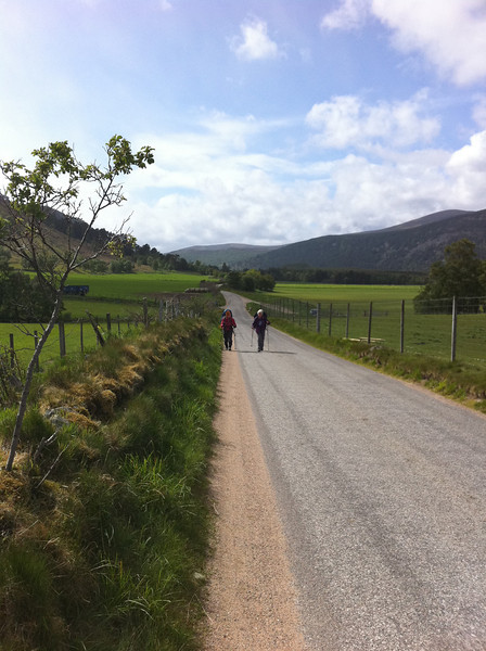 Mary and Lynn on road to Ballater