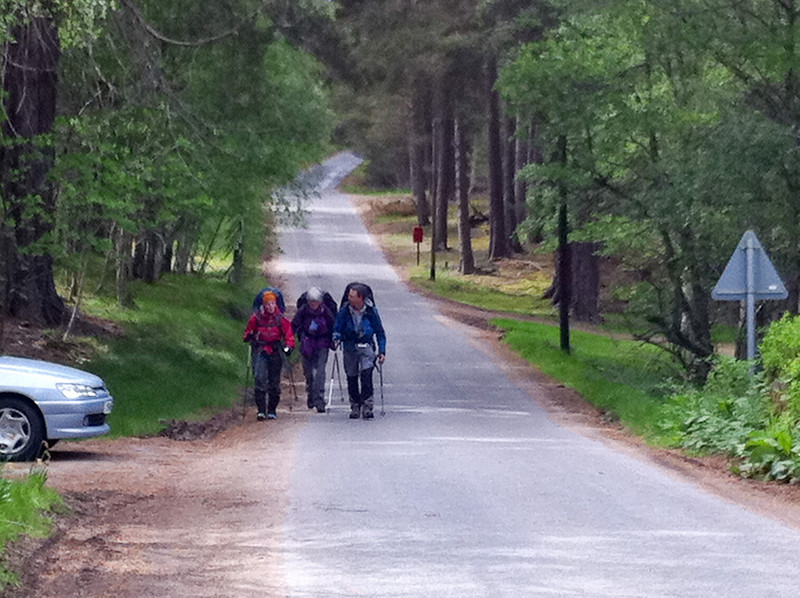 Lynn, Mary and Kim walking to Ballater