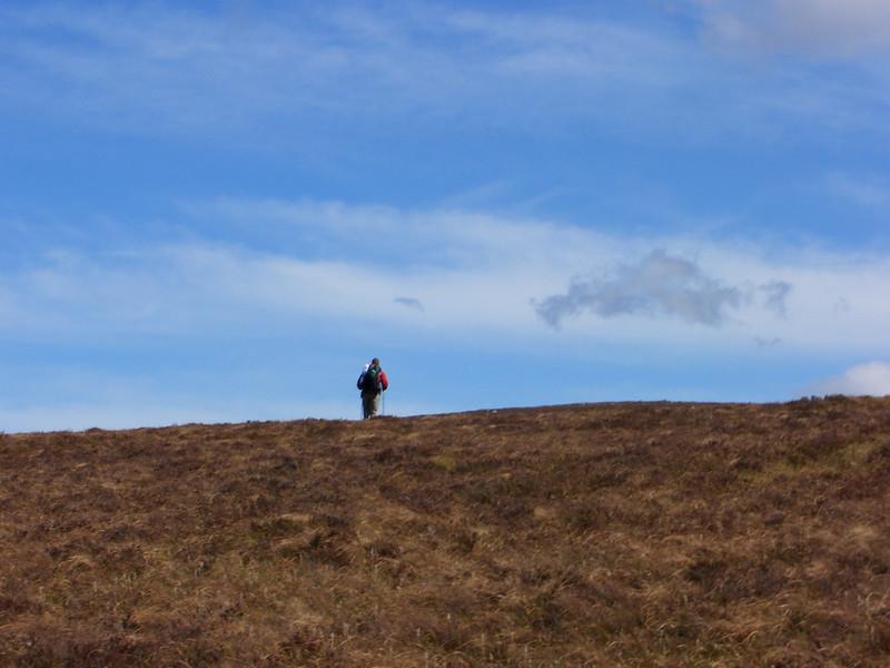 Yomp across heather from Gelder Shiel bothy