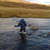 Loch Gaorsaic NH025228 - stepping stones (These rivers were easily walkable one week prior to the challenge.   Poles were needed just to keep from being swept over).  Remember the rules.  Never cross over your legs.  Always face upstream.   Make sure 3 things are planted at once (ie. 2 poles and a leg or 2 legs and a pole).