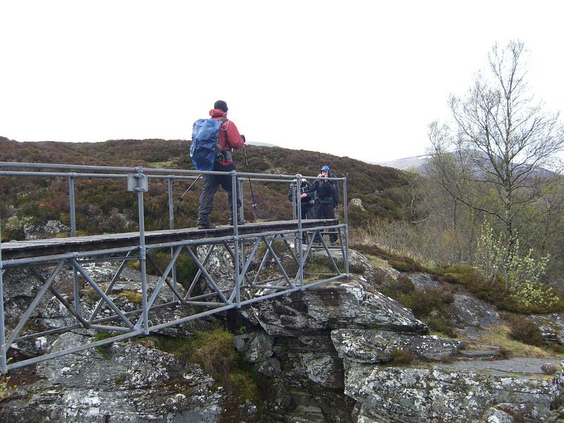 Bridge crossing at the waterful, upper Glen Feshie