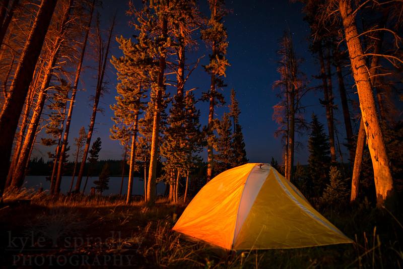 "Camp set up at Rob Roy Reservoir in the Snowy Range.<br /> <br /> Photo by Kyle Spradley   © Kyle Spradley Photography    <a href=""http://www.kspradleyphoto.com"">http://www.kspradleyphoto.com</a>"