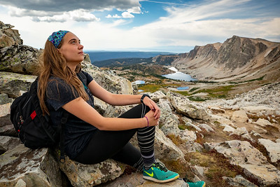 Students from the University of Wyoming's Outdoor Program take the trail up Medicine Bow Peak during the summer on Sept. 4, 2018. The hike begins at the Lewis Lake parking lot, meanders past the lake and steeply climbs to an elevation of 12,018 ft atop the summit.  Photo by Kyle Spradley | © Kyle Spradley Photography | www.kspradleyphoto.com