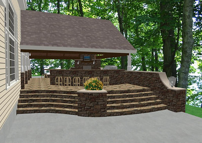 Preliminary Design - Outdoor Living Area - Stair View