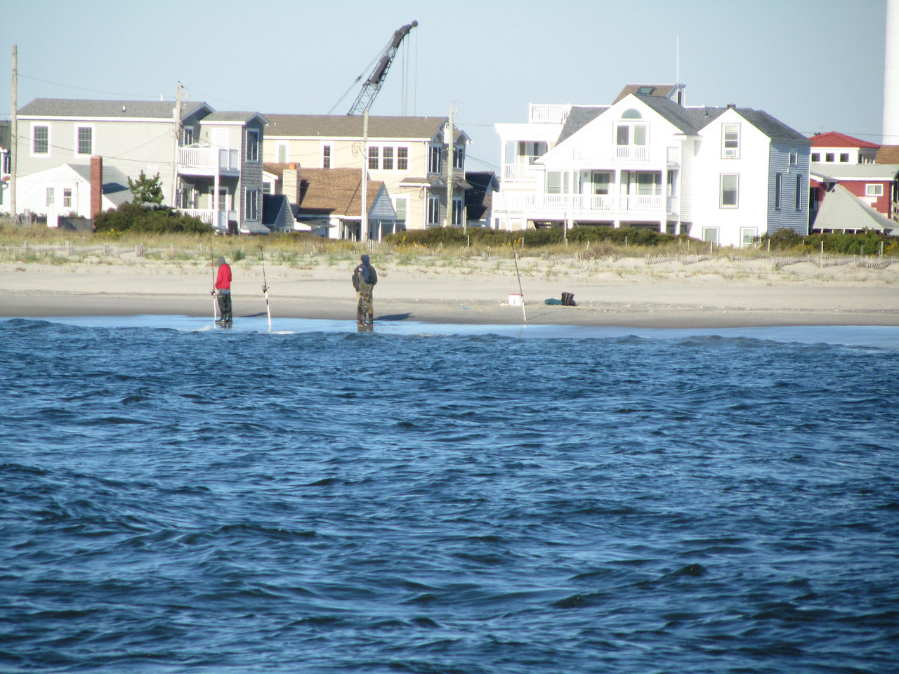 Shore fishermen looking for Stripers as well.