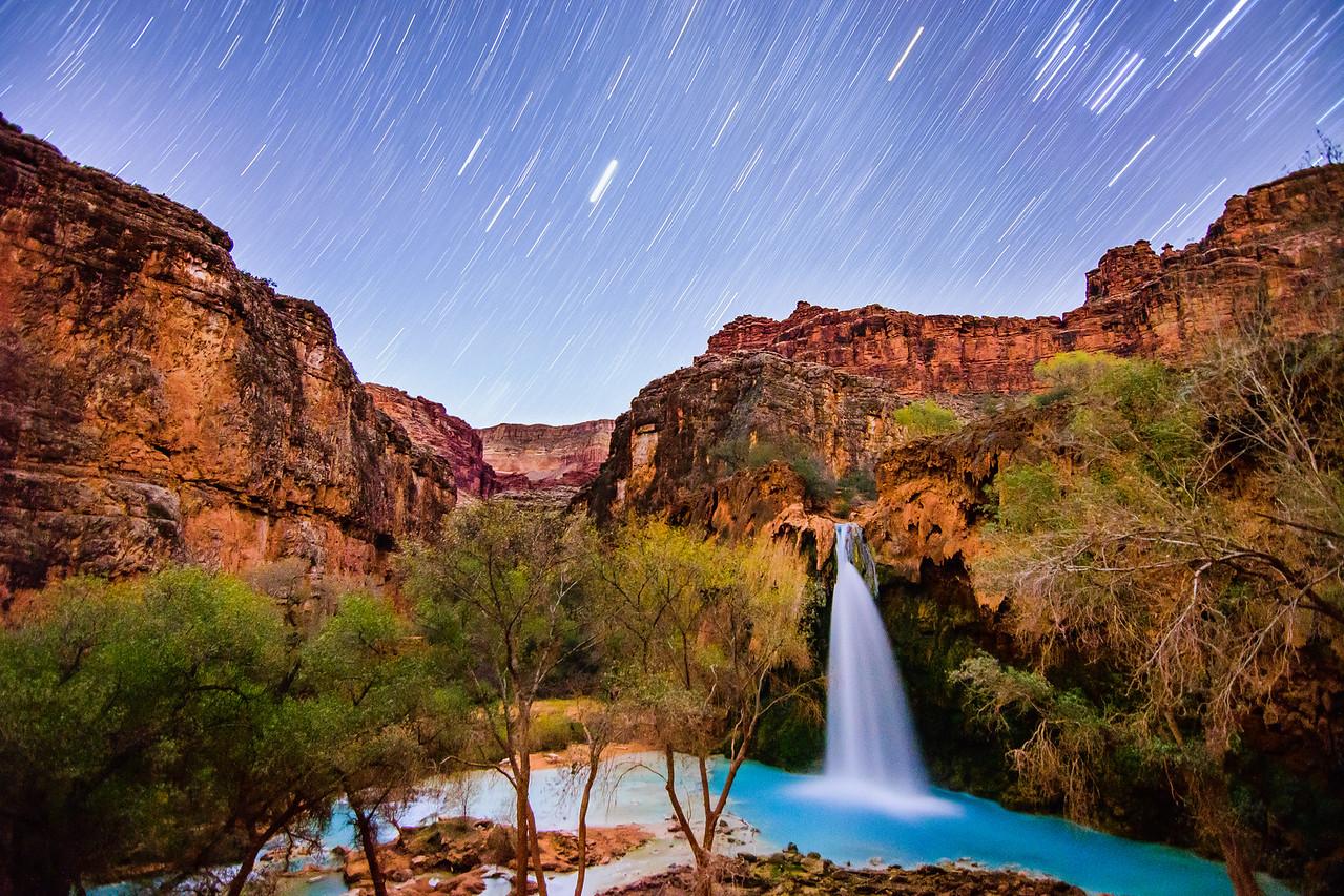Havasu Falls Under Starlight, Grand Canyon National Park, Arizona
