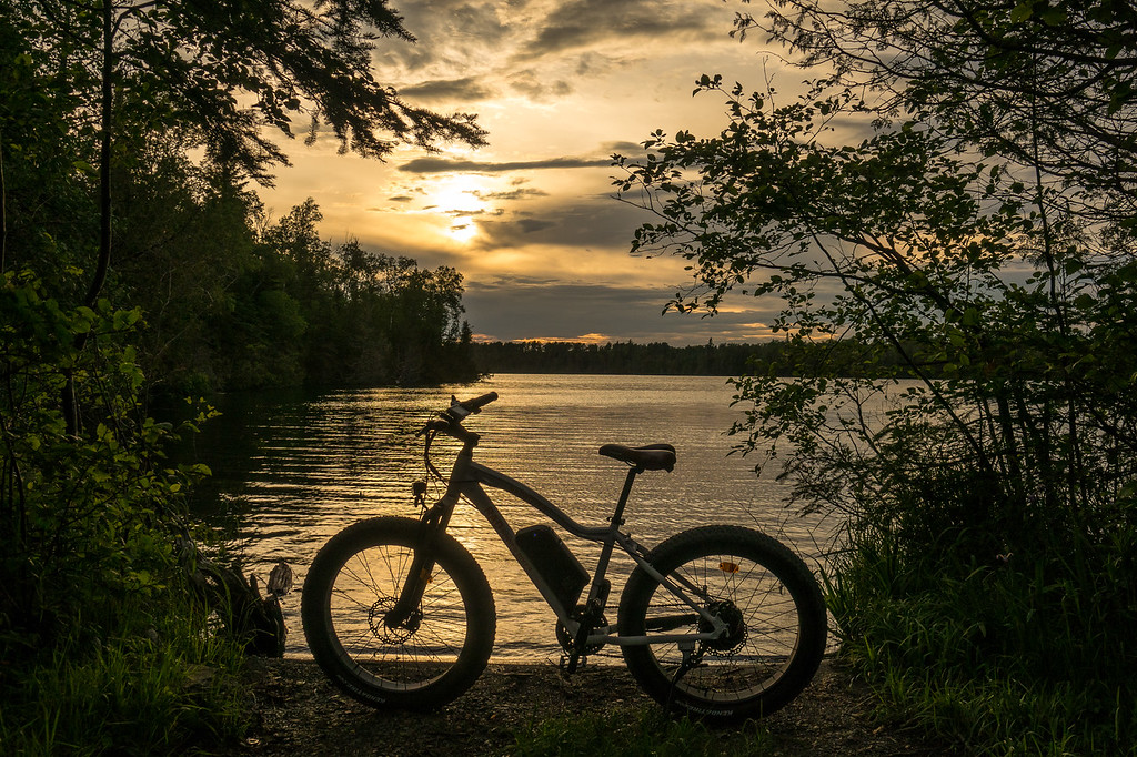 """BIKING 04870<br /> <br /> """"Rad Rover and Sunset on Otter Lake""""<br /> <br /> Cook County, MN"""