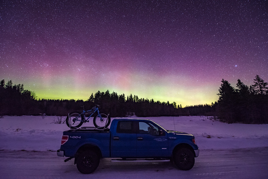 "BIKING 6898<br /> <br /> ""Looking for Adventure""<br /> <br /> Northern Lights on March 7, 2016 in Grand Portage, MN"