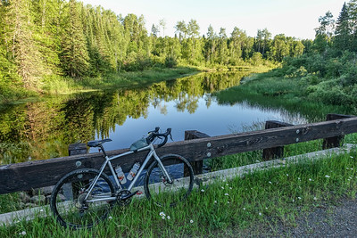 "BIKING 01326  ""Sweet evening view of Swamp River from Otter Lake Road""  Grand Portage State Forest, MN"