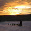 Credit: Jesse Carlstrom/FCVB<br /> <br /> A musher and dog sled team ride off into the sunset near Fairbanks.