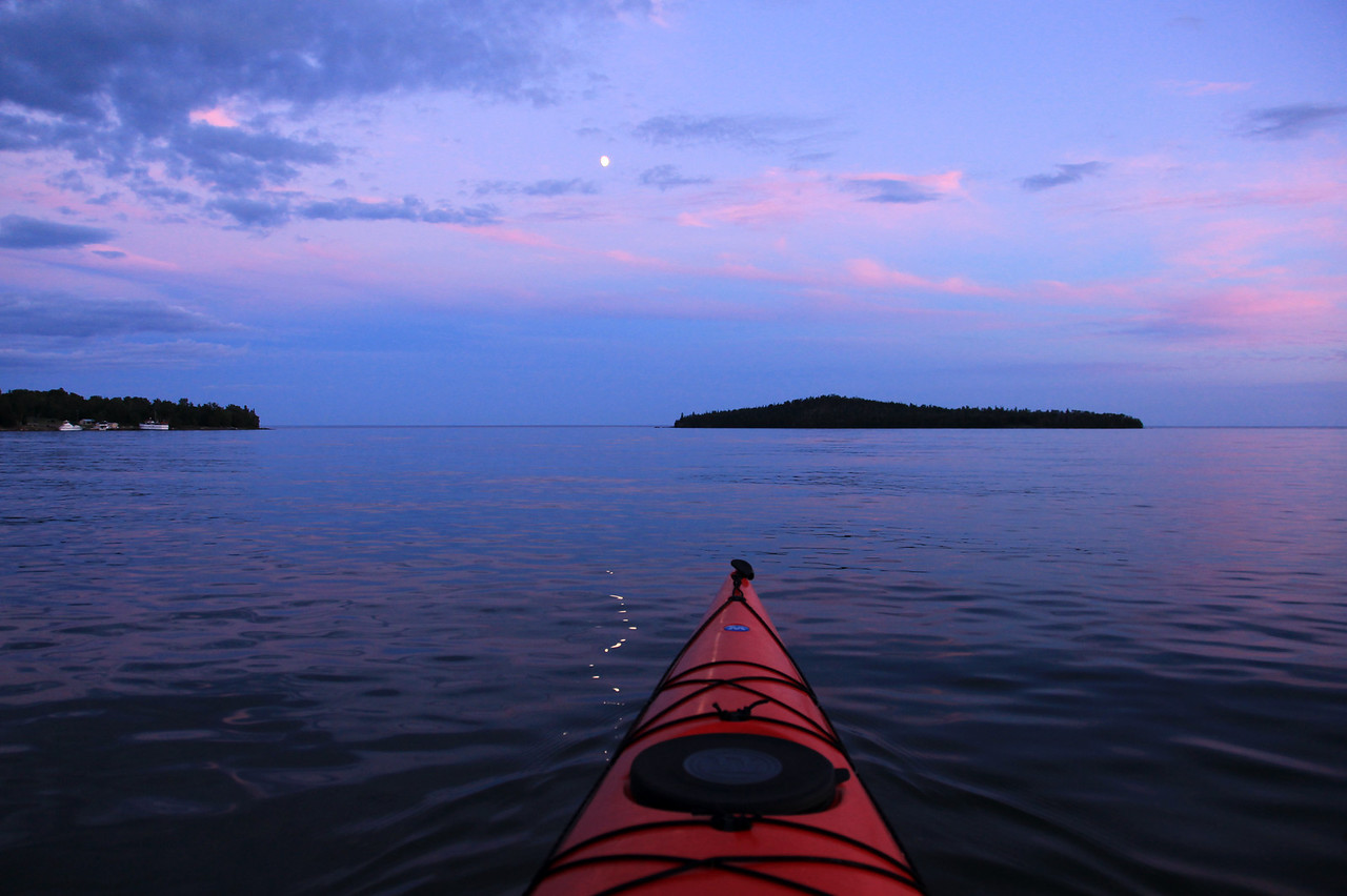 "KAYAKING 8280  ""Sunset Moon, Paddling on Grand Portage Bay""  Grand Portage, MN"
