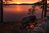 Campfire dinner at sunset on Opeongo Lake