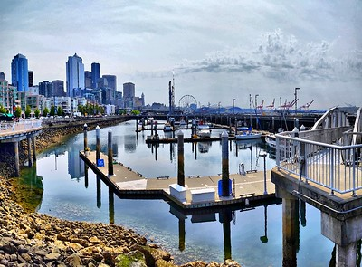 Seattle Waterfront - August 2015 - 4 Cell Pic Stitch - HDR Sim - Other Prgms