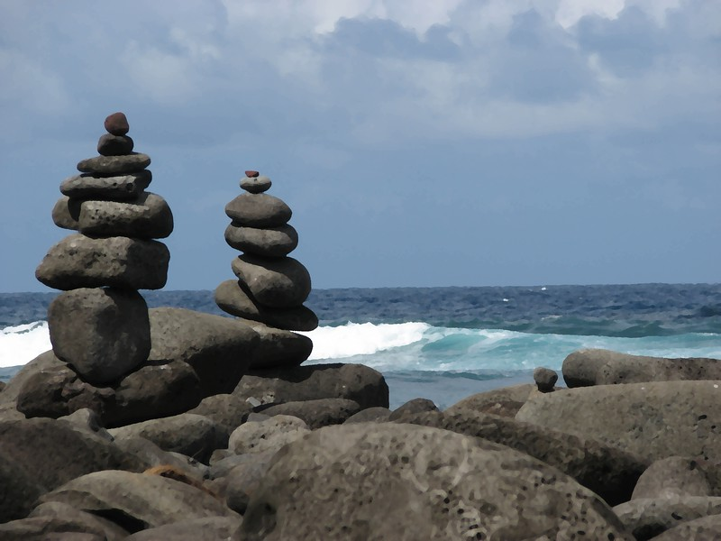 Rock Cairns on the Big Island