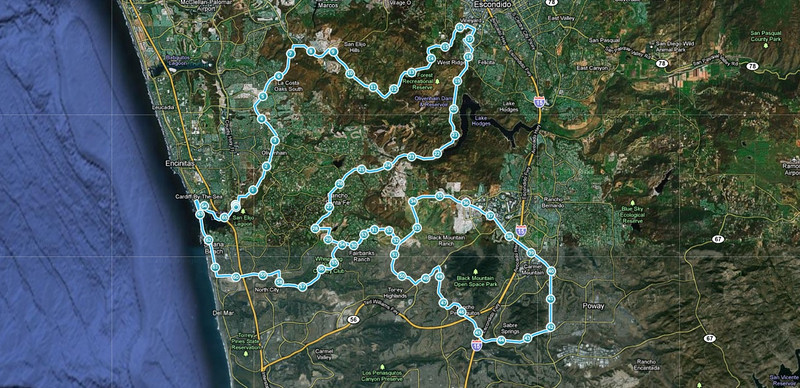 Here is the 67 mile route. We followed this clockwise. The section that connects the two loops was travelled twice, in opposite directions.
