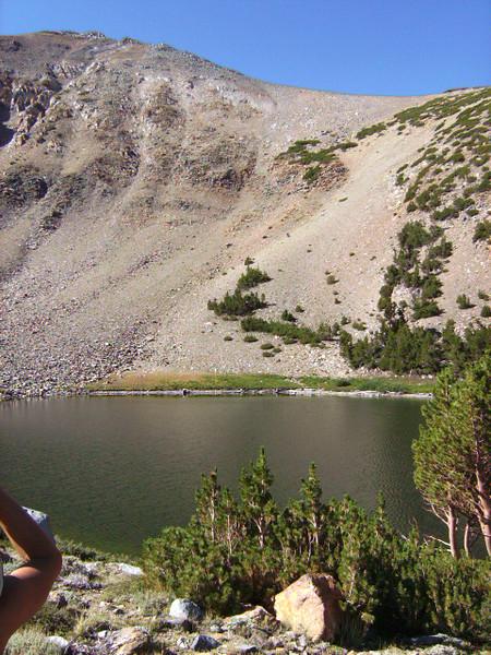 Brown Lake, looking southeast. We took another break here.