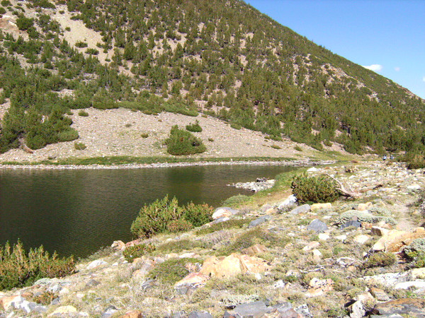 An easy hike past Bluff Lake, we reach Brown Lake.