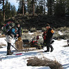 """This is the """"ski-b-q"""", a home-made sled, made with an old pair of skis, to carry a barbecue to camp."""