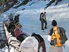 Captain Dave demonstrating traversing a snow slope.