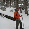 """I decided to have Mark take my picture while was John was taking a """"split break"""". On some of my hikes, where snow is present but spotty, I have to search out places to take photos like this. But on this day, the whole hike looked like this."""