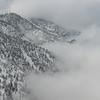 The clouds looked like this most of the day, except when they crept up the slopes and enveloped us.
