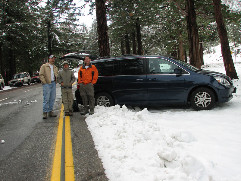 Here's where we parked the car, at the trailhead. I was afraid Mark wouldn't be able to back the car out of that snow, but it turned out to be easier than I thought.