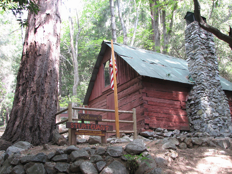 This is the ranger building, made of hand-hewn timber in 1903, at Sturtevant Camp.