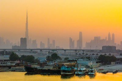 Dubai Waterfront Sunrise Skyline