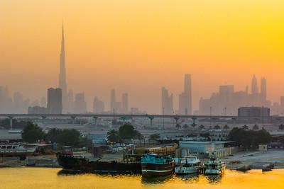 Dubai Waterfront Sunrise Skyline
