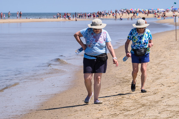 Mom & Suze walking at Head of the Meadow Beach, Cape Cod National Seashore