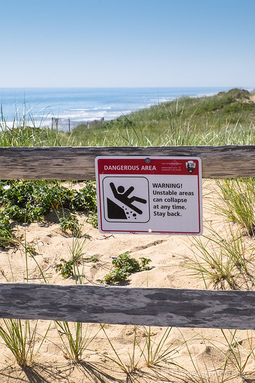 warning sign near Marconi Station overlook