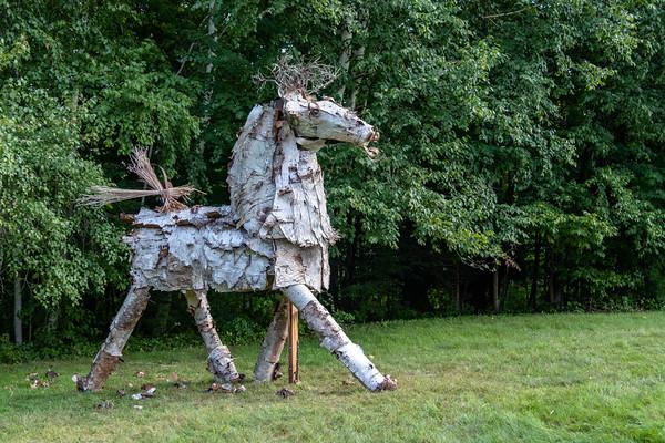 Betula, a horse sculpted of birch bark