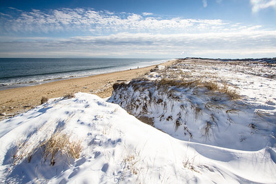 snow, sand, and water