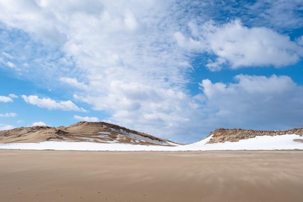 snow on sand dunes, Parker River National Wildlife Refuge