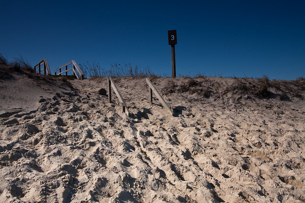 stairs to the boardwalk, buried in sand