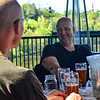 KRISTOPHER RADDER — BRATTLEBORO REFORMER<br /> Dave Blaine laughs while having a drink with friends at the Whetstone's Bier Garten, in Brattleboro, Vt., as restaurants in Vermont were allowed to open up their outdoor seating area on Friday, May 22, 2020.