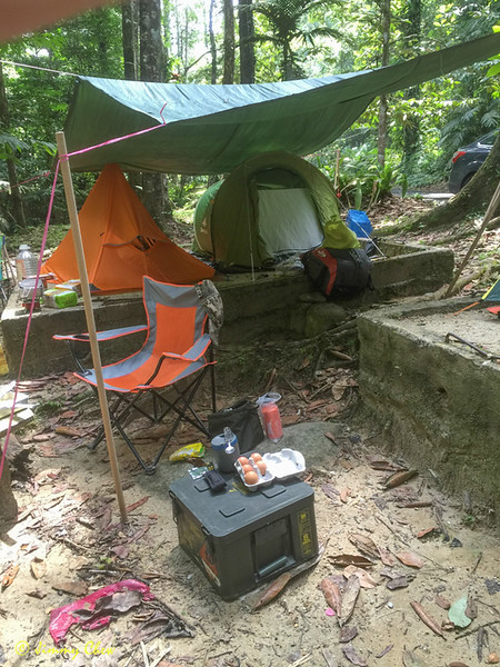 My pop-up tent with Gary's single-man tent. My chair and my ammunition food box.