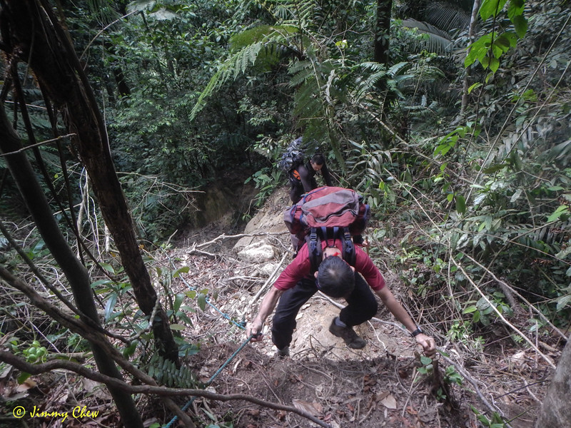 Again, this rope helps a lot. Soil erosion has made the climb more difficult, especially with full load backpack.