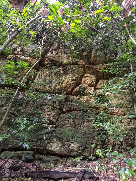 Rock wall upstream.