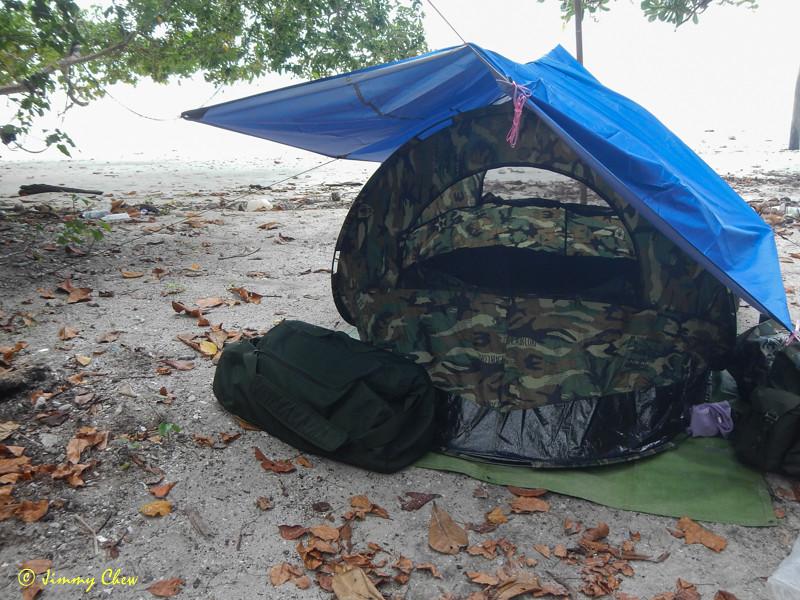 Single-layer pop-up tent needs the flysheet.